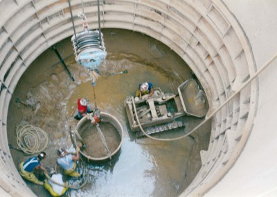 Initial excavation after completion of shaft collar