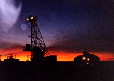 Shaft headframe set up under Northern Lights