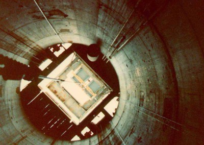 View up a shaft under construction