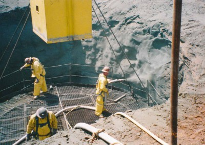 Application of shotcrete for shaft collar stabilization